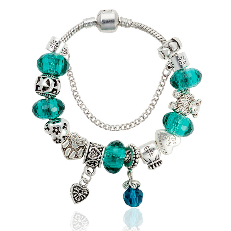 restore ancient ways loving heart bracelet pendant noble blackish green transport bead bracelet DIY manually beaded bracelet