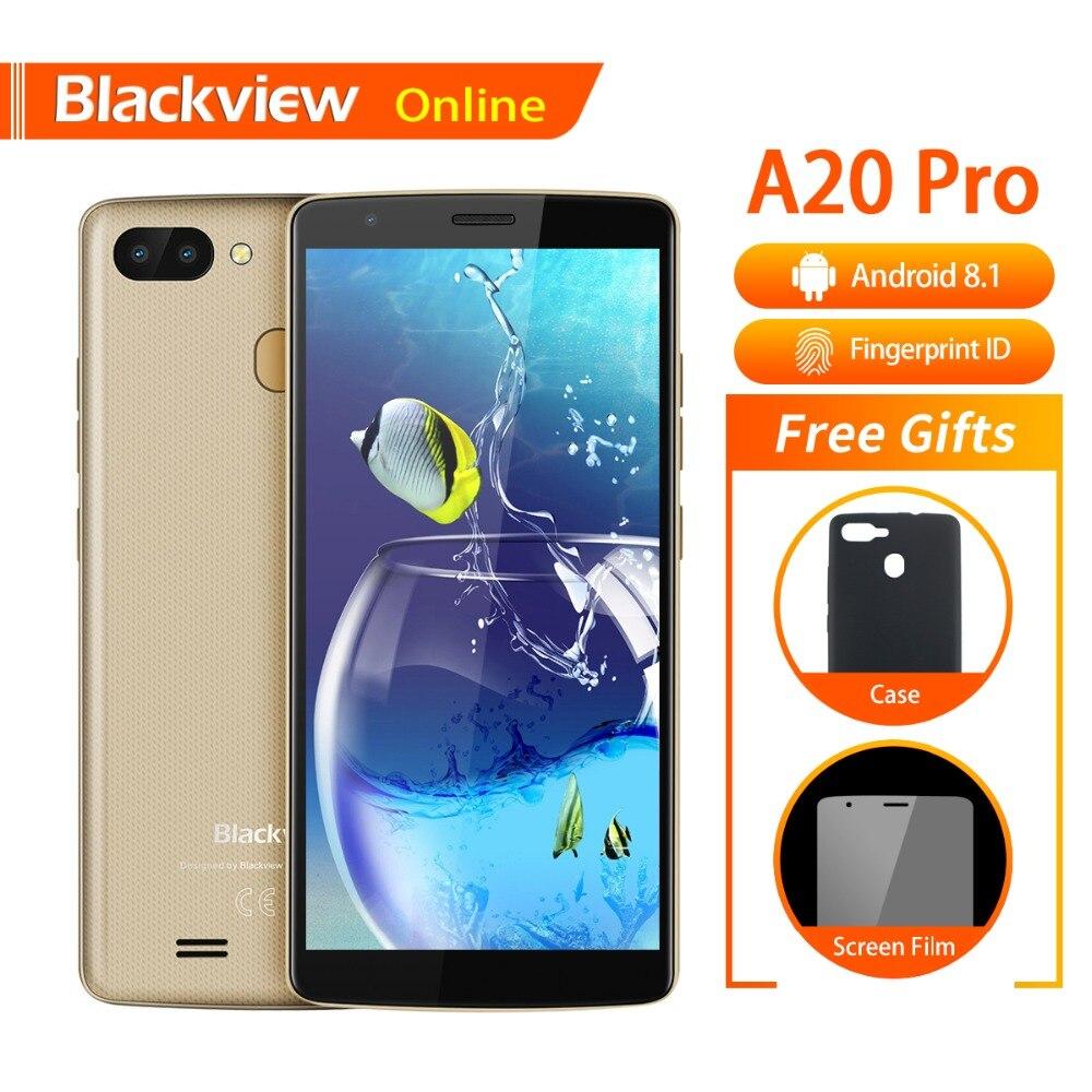 Blackview A20 Pro D'origine 5.5 téléphone portable 2 GB + 16 GB Quad-Core Android 8.1 D'empreintes Digitales 18:9 Plein HD Écran 3G Mode Smartphone