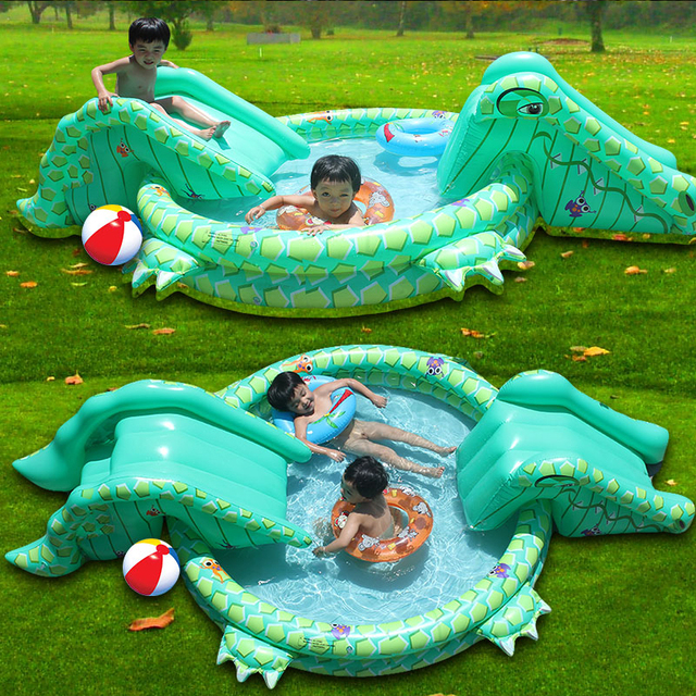 Multi Function Large Size Outdoor Inflatable Swimming Water Pool With Slide Home Use Playground