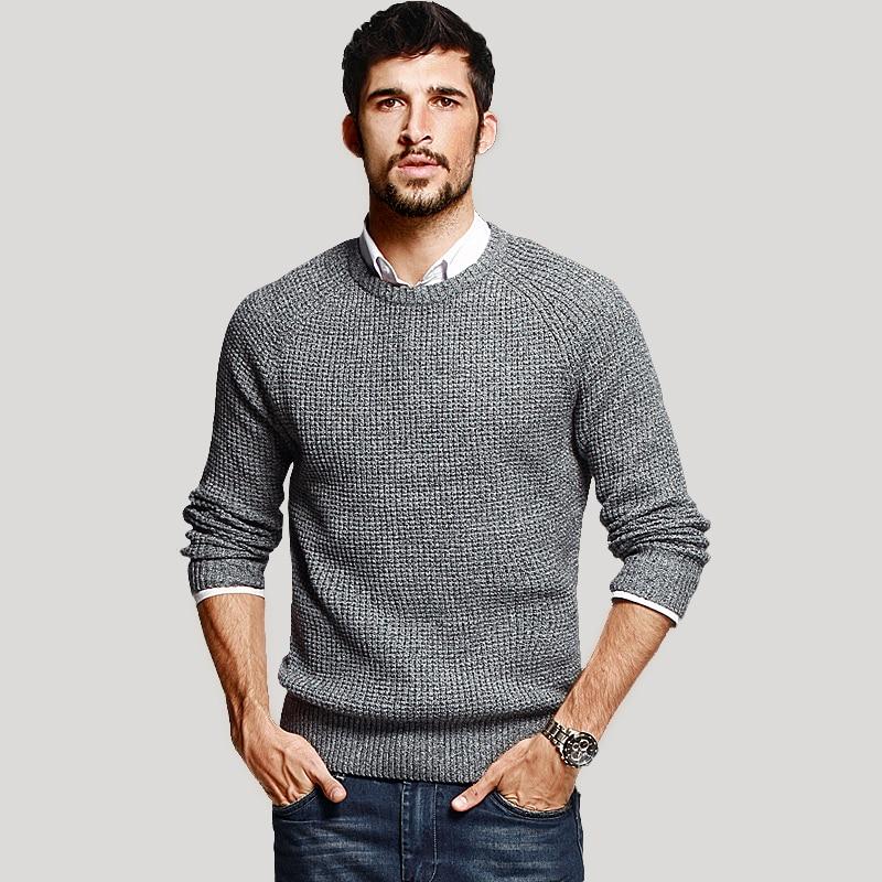 KUEGOU Herbst Herren Pullover 100% Baumwolle Grau Farbe Gestrickt - Herrenbekleidung - Foto 2