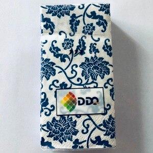 Image 2 - Casamento 10 sztuk 3 warstwa klasyczny niebieski kwiat papier ślubny serwetki do Decoupage dekoracja urodzinowa Boda dostaw