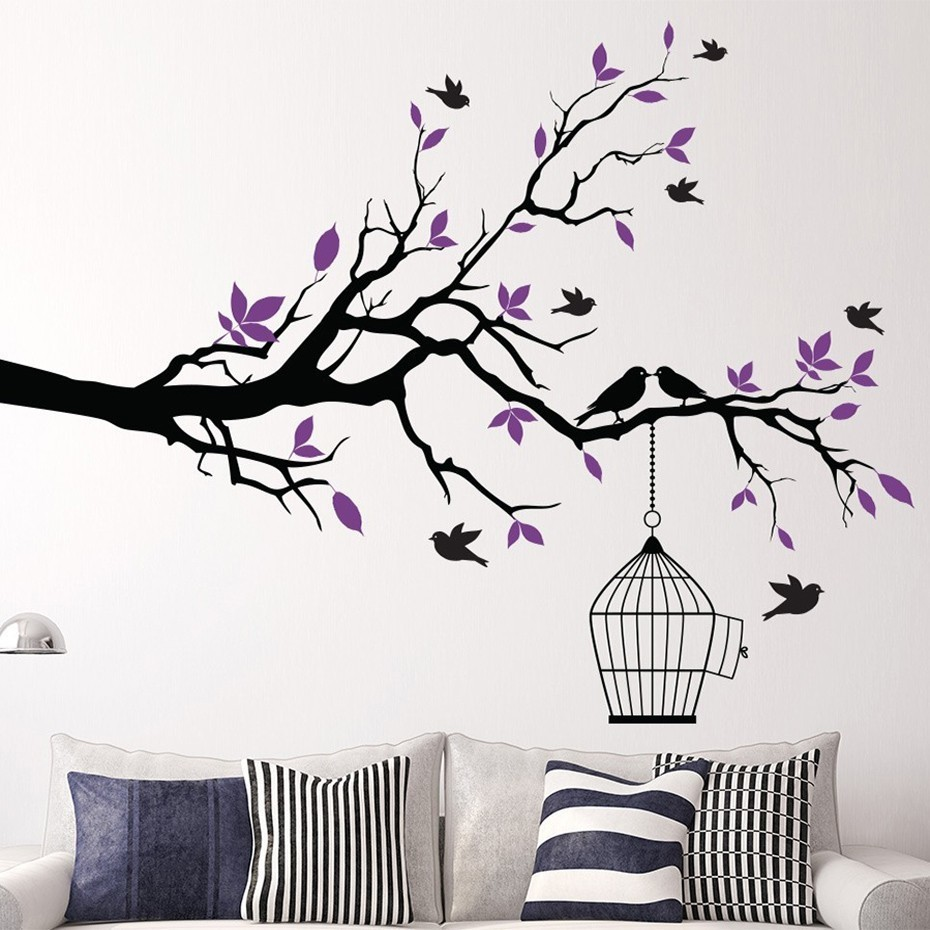 Tree Branch Wall Art Sticker With Bird Cage Removable Vinyl Wall Decals Wall Stickers For Living Room Home Office Decor