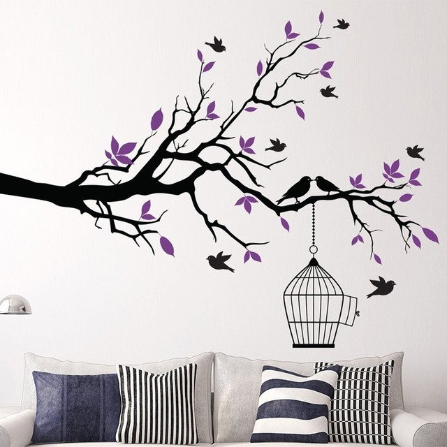 Tree Branch Wall Art Sticker With Bird Cage Removable Vinyl Decals Stickers For Living