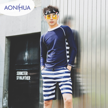 Aonihua Two piece swimsuit Long Sleeve Body Suit Stripes Sport Short Pants Surfing Bathing Suits For Couple