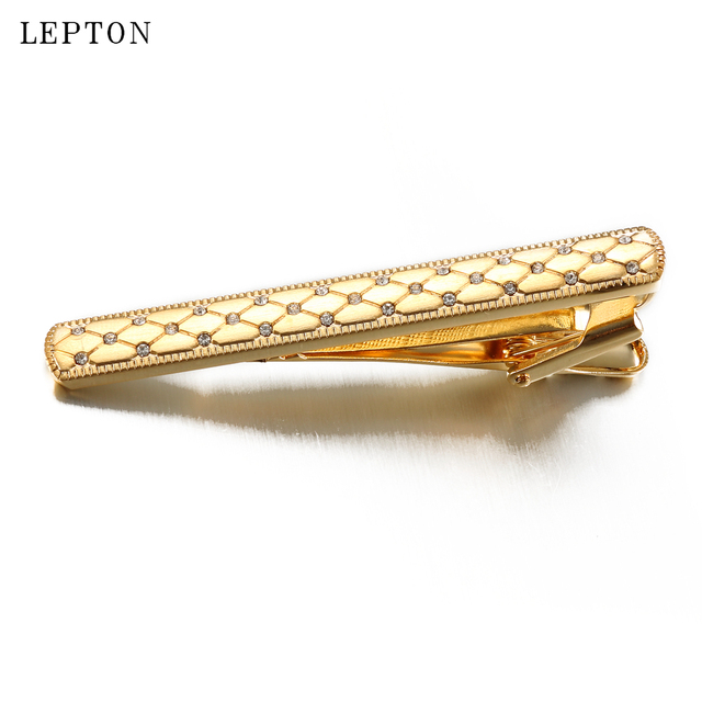 Low-key Luxury Gold Color Crystal Cufflinks Tie Clip Sets Lepton Metal Bar Clips Business Wedding