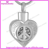 IJD9531 Peace Sign With Heart Memorial Necklace Cremation Ashes Jewelry Urn Pendant