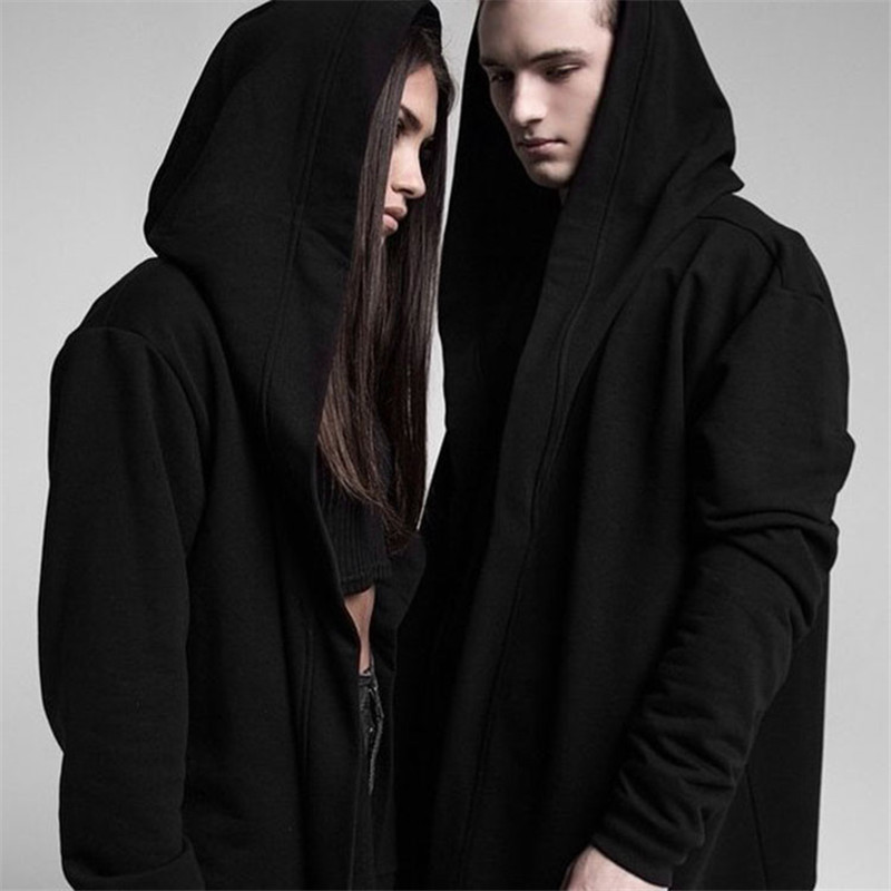 Gothic Best Quality Men s Hooded Black Gown Hip Hop Mantle Men Hoodies and Sweatshirts long