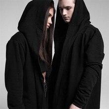 Gothic Beste Qualität männer Kapuzen Schwarz Kleid Hip Hop Mantel Männer Hoodies und Sweatshirts langen Ärmeln Mantel Mäntel Outwear M-5XL