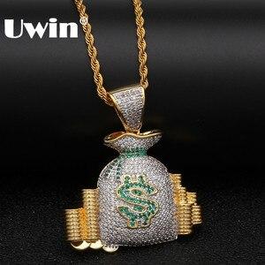 Uwin роскошное ювелирное изделие, богатая американская сумка для денег, монетное ожерелье с подвеской «стопка» и цепочкой золотого цвета, бле...