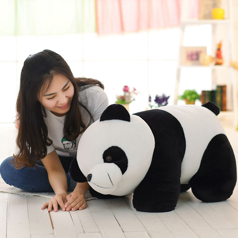 70cm Panda Plush Toy Cute Huge Panda Stuffed Soft Doll Simulation Animal Toy Baby Kids Toy Gift For Girl And Boy D72Z 1pcs 22cm fluffy plush toys white eyebrows cute dog doll sucker pendant super soft dogs plush toy boy girl children gift