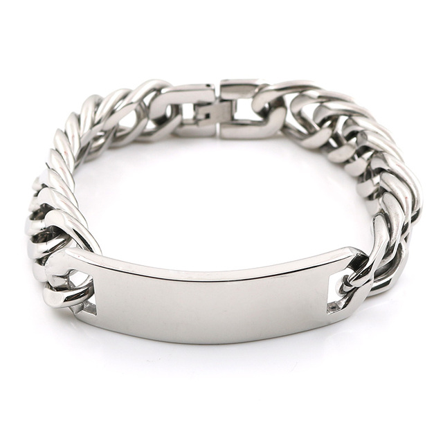 Fashion Jewelry Link Chain Stainless Steel 21cm Length Men S Bracelet Plain Metal