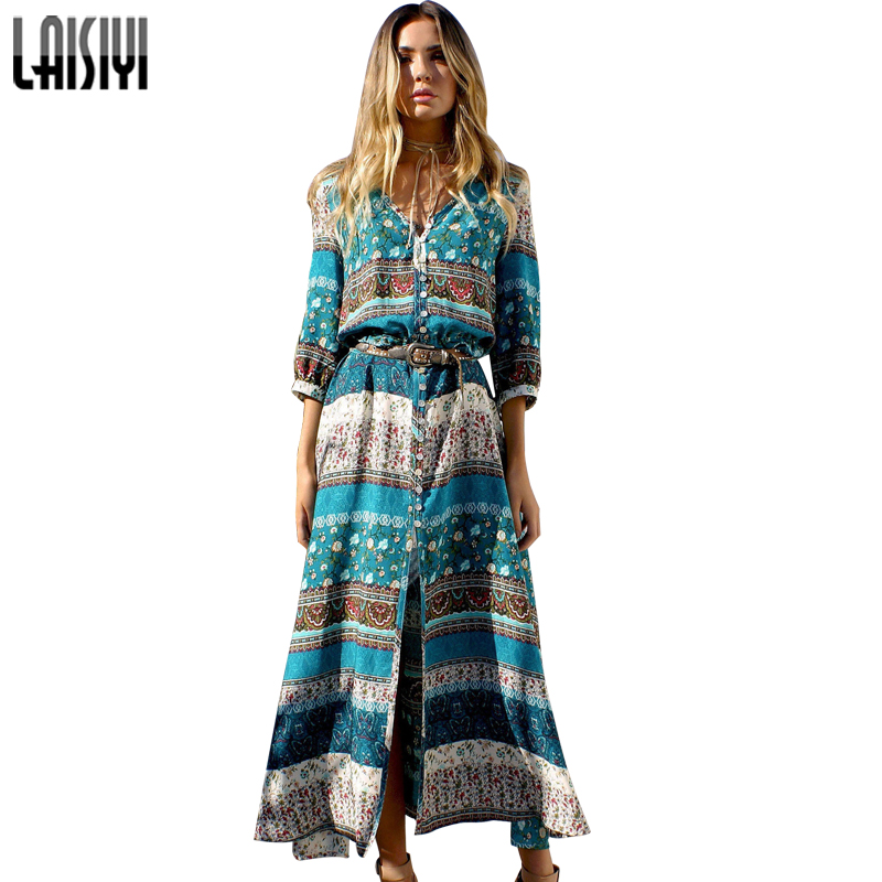 Buy Cheap LAISIYI 2017 Women New Sexy Split Boho Print Dress Vintage Strappy Long Summer Causal Maxi Beach Dresses Vestidos ASDR20103