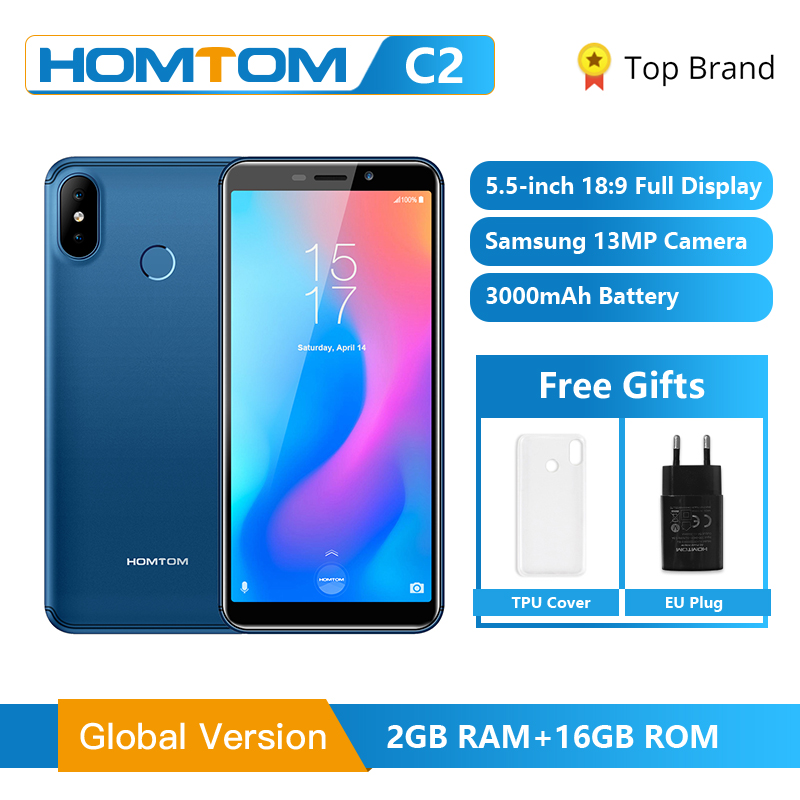 Golbal Version HOMTOM C2 5.5inch 2GB 16GB 3000mAh Face ID 4G-LTE Mobile Cell Phone Android 8.1 13MP Dual Rear Cameras Smartphone