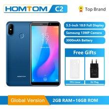 Küresel sürüm HOMTOM C2 5.5 inç 2GB 16GB 3000mAh yüz kimlik 4G LTE cep cep telefonu Android 8.1 13MP çift arka kameralar akıllı telefon