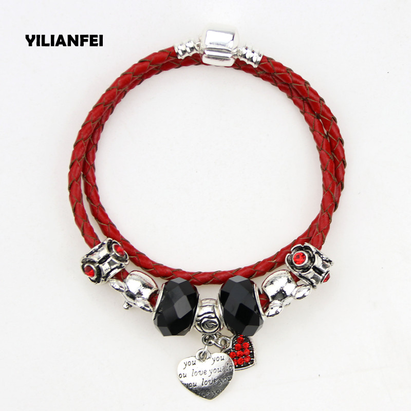 ChangBizi Heart Pendant Black Glass Beads Mickey Mouse DIY Red Leather Cord Fashion Cute Charm Pandora Bracelets& Bangle BT0058