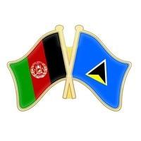 Afghanistan and Qatar Quebec Romania Russia Rwanda Puerto Rico Saint Kitts and Nevis Saint Lucia Samoa Crossed Flags Lapel Pins