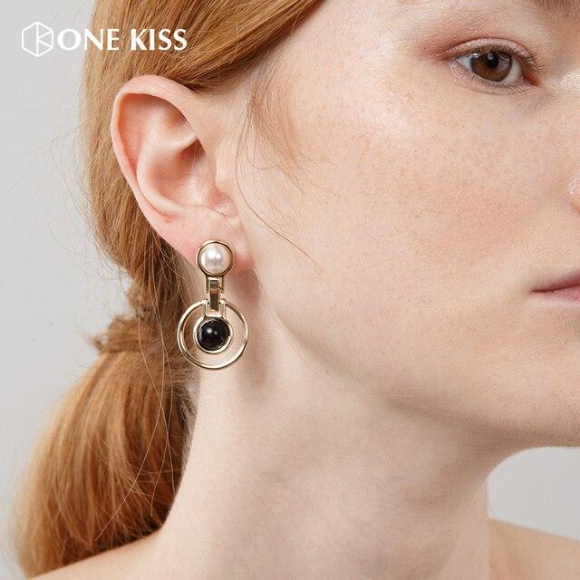Nhãn hiệu Thời Trang Mới Màu Vàng Double-layer Rỗng Vòng Tròn Kim Loại Vòng Dangle Earring Đối Với Phụ Nữ Giả Đồ Trang Sức Ngọc Trai Brincos