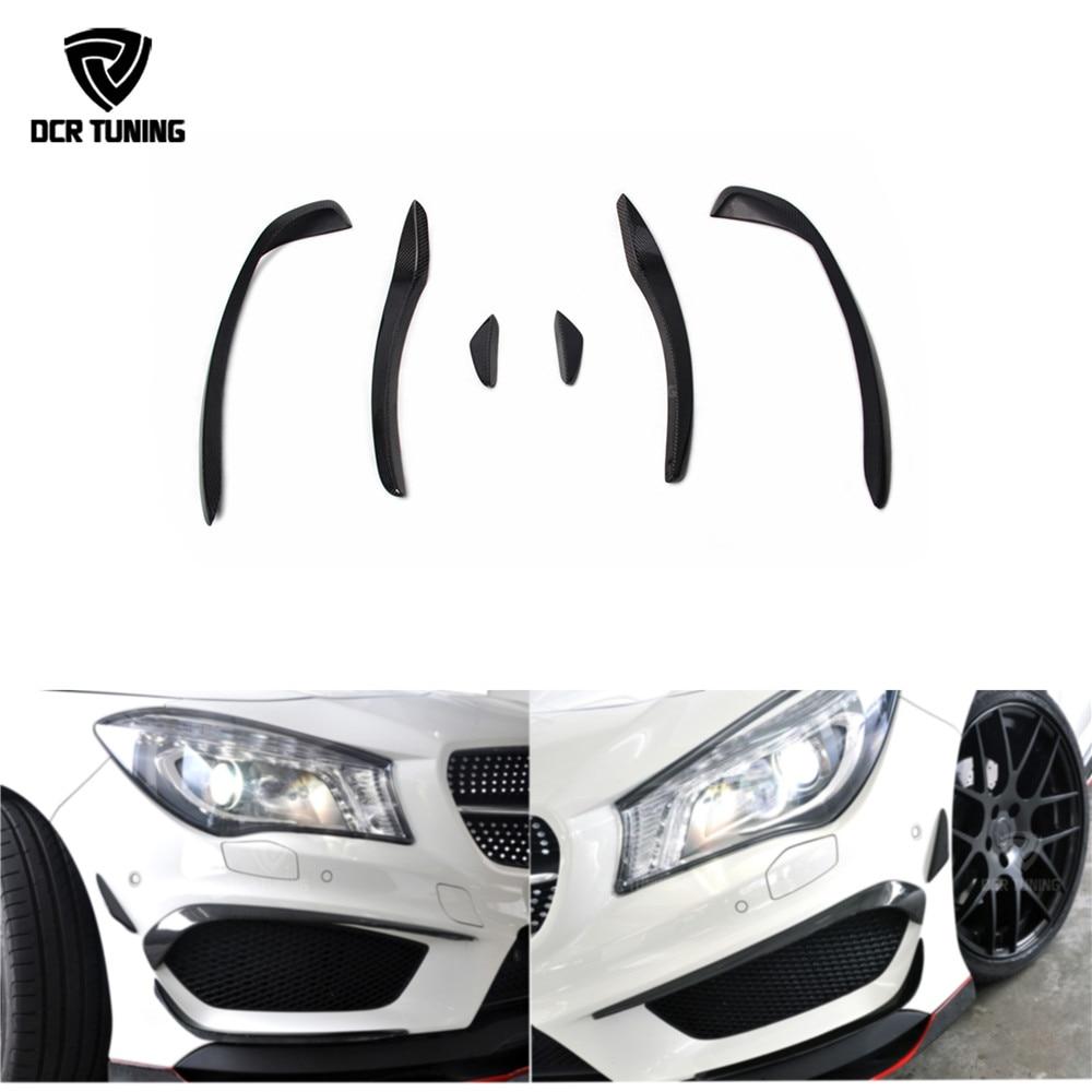 For Mercedes - Benz W117 CLA Class CLA 250 CLA 260 CLA45 AMG Carbon Fiber Front Bumper Splitter Canard 2014 - 2016 for mercedes benz cla class w117 cla180 cla200 cla250 cla45 amg carbon fiber front lip splitter flap canard fits sporty car amg