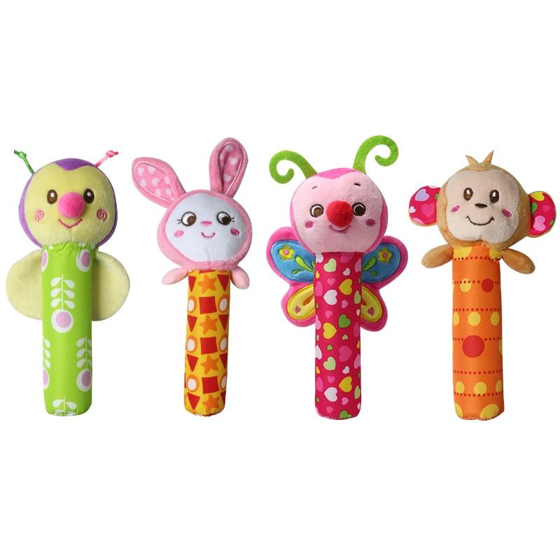 Новий 1 шт. 0-3 рік дитячі діти милі тварини плюшеві брязкальця ручні дзвони сова ведмідь олень BB звук освітні забавні іграшки подарунок для новонароджених