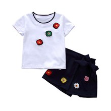 2pcs Baby Boys girls Clothes sets Summer Baby Clothing Set Cotton Clothing Baby Clothes Short Sleeve Floral T-shirt+short Pants 2pcs baby girl set cotton t shirt baby girl clothes girls clothing sets short sleeve skirts casual 2pcs girls suits
