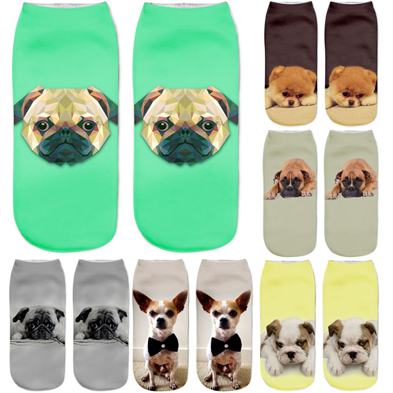 Dreamlikelin 3D Cute Socks Harajuku Kawaii Dogs Pomeranian Pug Ankle Women's Socks Funny Animal Print Socks