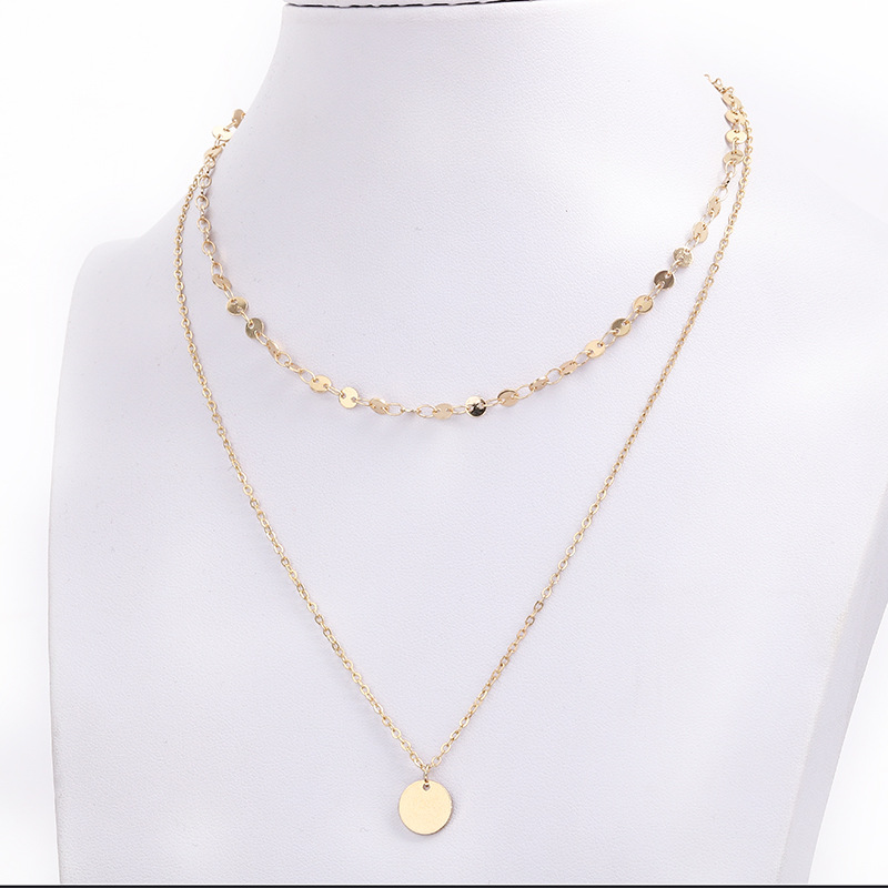 Fashion Chic Multilayer Chain circle coin Pendant long Necklace