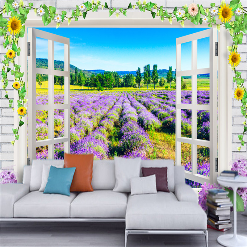 3D Custom Photo Wallpapers Nature Landscape Wall Mural Romantic Lavender Flowers Window For Living Room TV Backdrop Home Decor