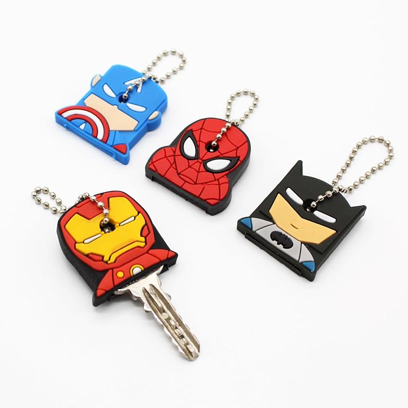 1PCS New Cartoon Key Case Cover Marvel Super Hero Silicone Protective KEY Wallet Spider Iron Man Rubber Holder Key Pendant Coat