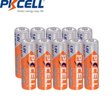 PKCELL – 10 pièces rechargeables AA ni-zn AA, 1.6V, 2500mwh, pour jouets, appareils photo
