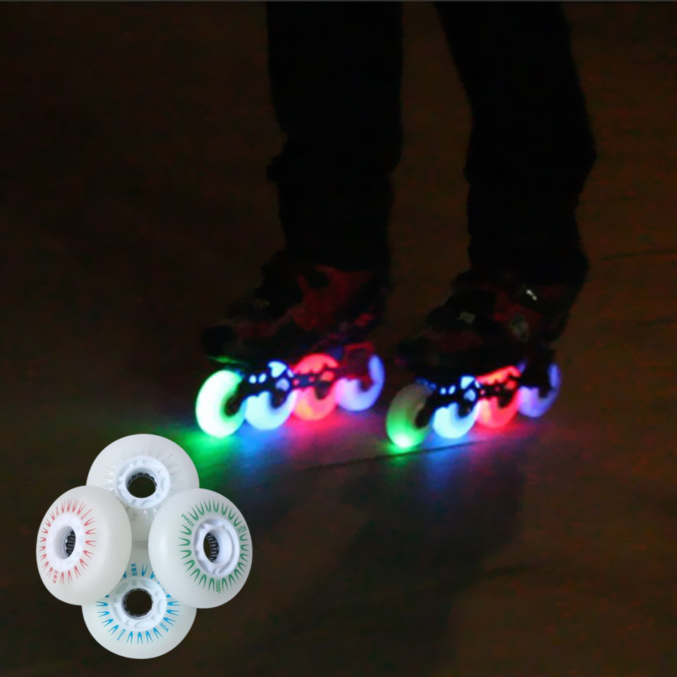 Image 2 - 80mm 76mm 72mm 88A 90A LED Flashing Wheels with Magnetic core for Inline Skates for Slalom Slide Free Skating for Adult Kid LZ50-in Scooter Parts & Accessories from Sports & Entertainment