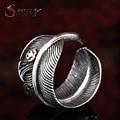 De acero soldado ancho hombres punky de la pluma anillo de la personalidad accesorios de moda de joyería de acero inoxidable ajustable