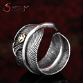 steel soldier width men punk feather ring personality stainless steel jewelry adjustable fashion accessories