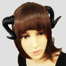 Handmade Black White Rose Sheep horn Accessory Demon Evil Gothic Lolita Cosplay Headwear Hairpin