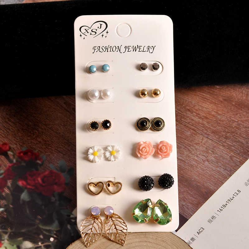 2019 ใหม่แฟชั่นผู้หญิงเครื่องประดับขายส่งหญิง party หู studs สวย match 12 คู่/เซ็ตต่างหูของขวัญ