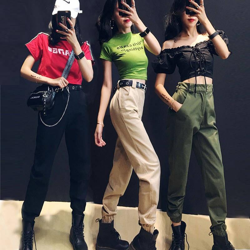 Streetwear Cargo Pants Women 2019 Casual Joggers Girl Black High Waist Loose Female Trousers Korean Style Ladies Pants Capri
