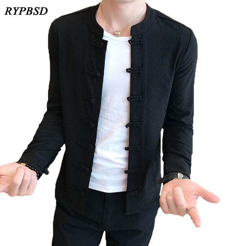 Autumn 2019 Chinese Style Tang Costumes Shirt Mandarin Collar Slim Fit Casual Kung Fu Tai Chi Shirt Black Long Sleeve Shirt Men