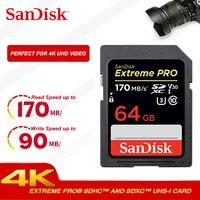 Двойной Флеш-накопитель SanDisk Extreme PRO sd карты 128 ГБ 256 SDXH до 170 МБ/с. скорость чтения cartao de memoria 64 ГБ 32 ГБ оперативной памяти, 16 Гб встроенной памяти...