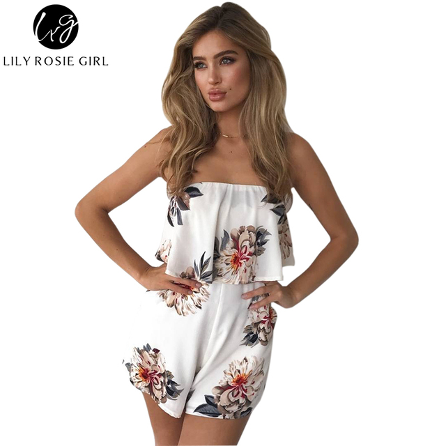9ddcbc941d247 Off Shoulder Boho Style Floral Print Playsuit Women Sleeveless Rompers  Elegant Sexy Beach Holiday Autumn Jumpsuits Overalls-in Rompers from  Women's ...