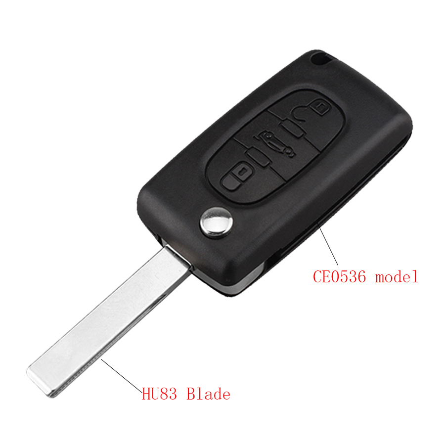 3Buttons Folding <font><b>Key</b></font> Shell for <font><b>PEUGEOT</b></font> 207 407 406 307 <font><b>308</b></font> SW 408 107 FOB Remote <font><b>Key</b></font> Case Uncut Blade HU83 CE0536 No Logo image