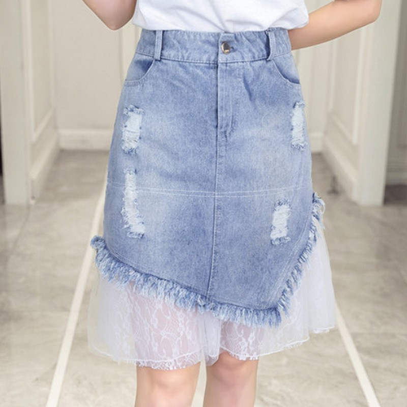Malla Pathwork Mujeres Denim Faldas Tallas Grandes Verano Falda Vaquera Moda Agujeros Rasgados Pantalones Jean Faldas Mujer Elegante Saias Mujer Aliexpress