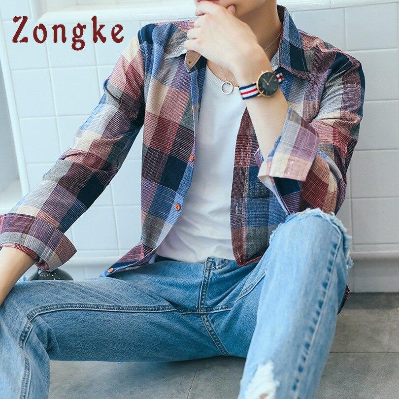 Zongke Plaid Men Shirt Long Sleeve Cotton Linen Japanese Streetwear Men Shirt 5XL Casual Plaid Shirt Men Clothes 2019 Autumn New