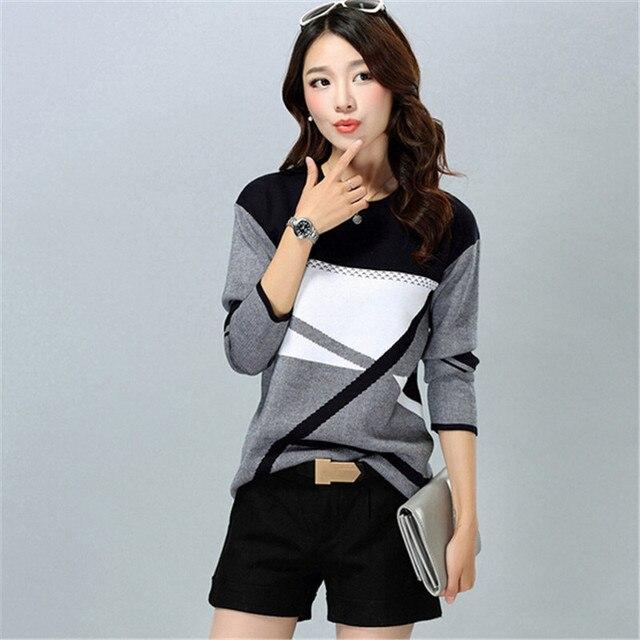 ASLTW Women's Sweater Casual Geometric O Neck Pullover Pull Femme Plus Size Streetwear Sweater Women