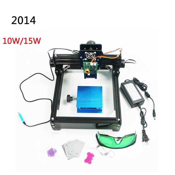 10 Вт/15 Вт DIY ЧПУ лазерная маркировочная машина рабочей области 14*20 см для нержавеющей стали, дерево, алюминий и т. д. металлический материал