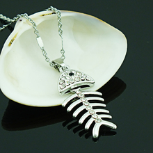 JINGLANG New Fashion White Rhinestone Fishbone Charms Silver Plated Link Chain Pendant Necklace For Men or Women Jewelry