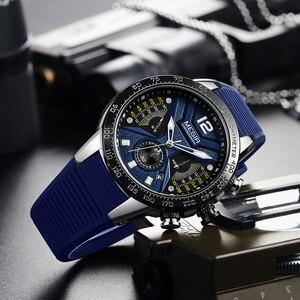 Image 5 - MEGIR reloj deportivo de silicona para hombre, cronógrafo de cuarzo militar, marca de lujo, Zegarek Meski Erkek Kol Saati