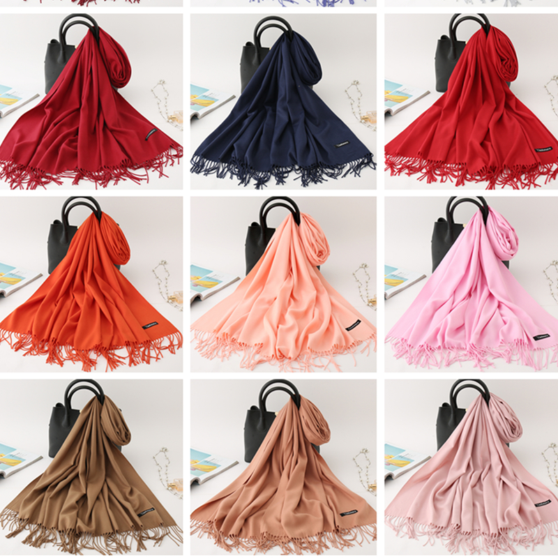 2019 Winter Scarf Solid Thick Women Cashmere Scarves Neck Head Warm Hijabs Pashmina Lady Shawls and Wraps Bandana Tassel Femme in Women 39 s Scarves from Apparel Accessories