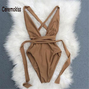Women One Piece Body Suit Bikini Swimsuit Bathing Suit Biquini 2018 Sexy Halter Deep