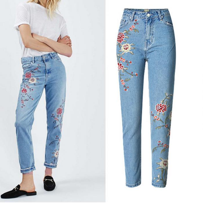 Europe in the autumn of 2016 new women's fashion all-match wash old embroidery feet Denim high waisted jeans pants