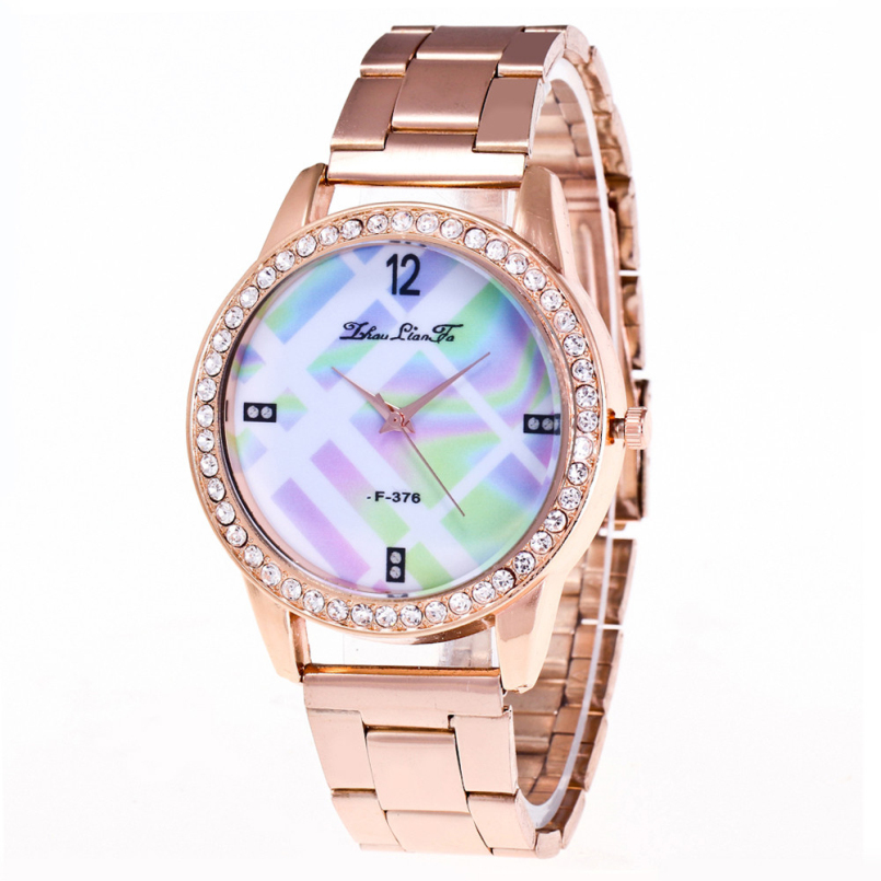 Excellent Quality Fashion Golden Womens Diamonds Wrist Watches Top Brand Ladies Quartz Clock Female Bracelet Wristwatch Feb 22