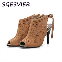 SGESVIER Summer Sandal Women Sexy Shoes 2017 Hot Sale Open Toe Square High Heels Solid Slip
